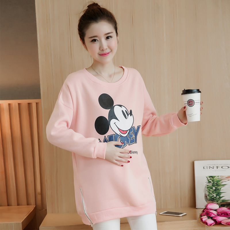 Maternity fashion korean version of the cartoon cute loose dongkuan hedging round neck and long sections of pregnant women sweater cartoon