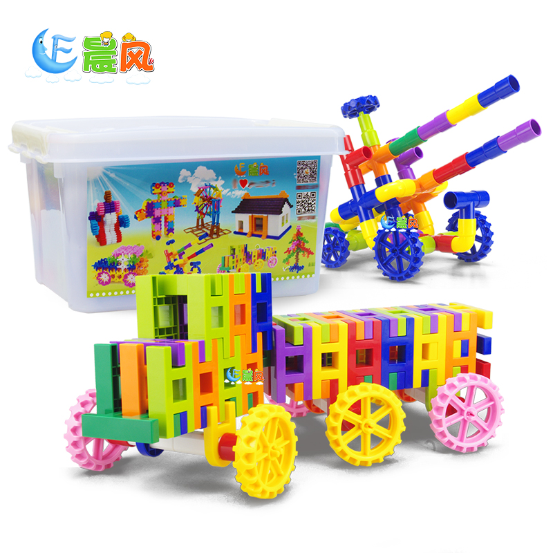 Matinal racing creative enlightenment early childhood educational toys combination kindergarten pipeline fight inserted plastic building blocks of intellectual