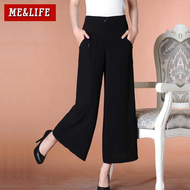Me & life 2015 summer was thin korean version of the new wide leg pants/pantyhose thin section chiffon skirts big yards female trousers