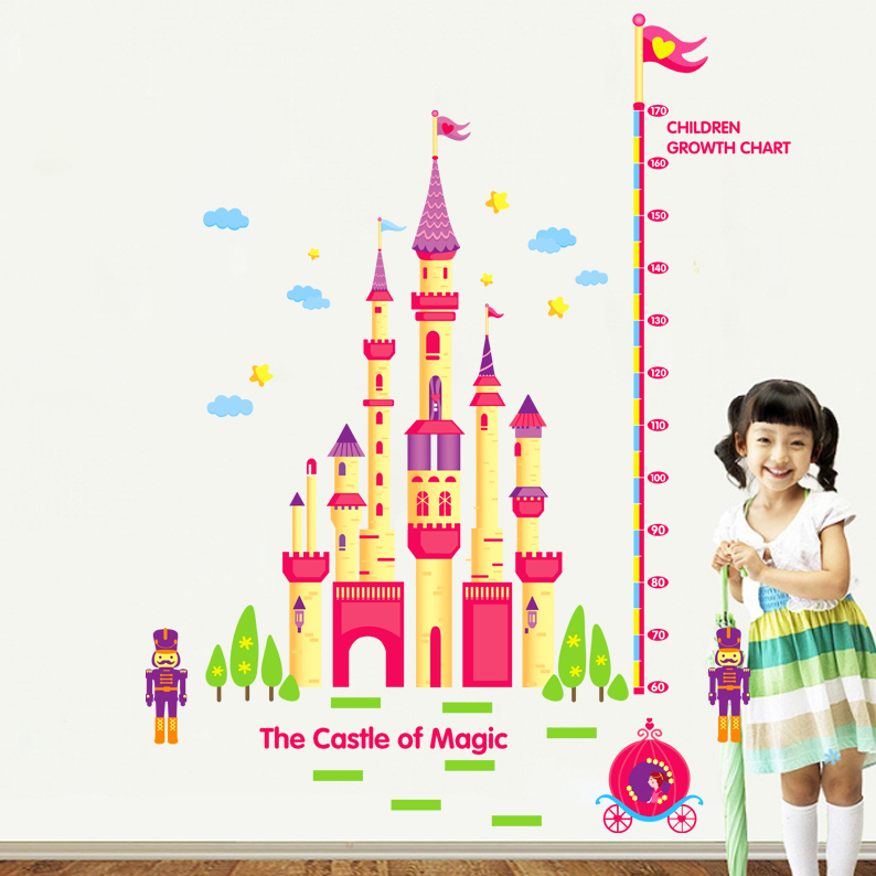 Measuring height stickers removable wall stickers sticker color cartoon baby feet tall children's room bedroom castle