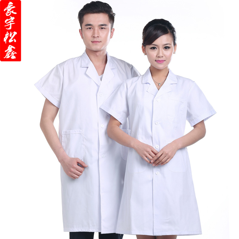 Medical doctor white coat short sleeve summer uniforms for male and female doctor nurse pharmacy oral dental nurse physician service