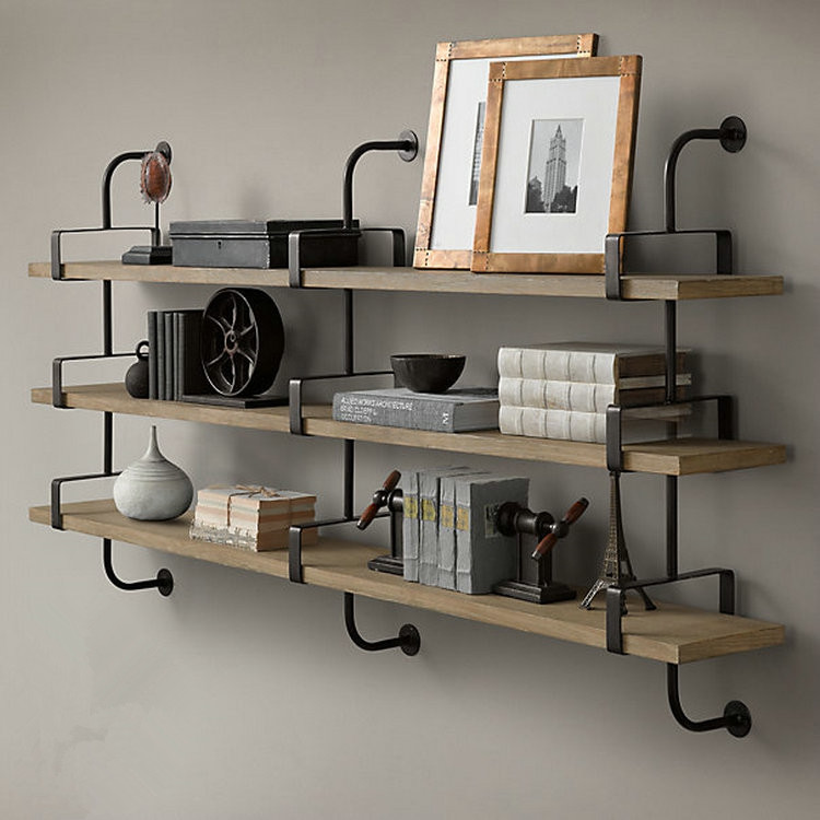Get Quotations Mediterranean American Country Vintage Wrought Iron Wood Wall Shelf Racks Hanging Shelves Word Clapboard Frame