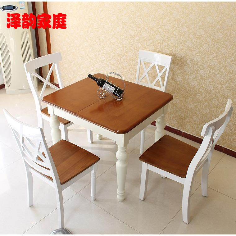 Mediterranean solid wood folding table telescopic table dinette combination ash solid wood dining tables and chairs oak dining tables and chairs