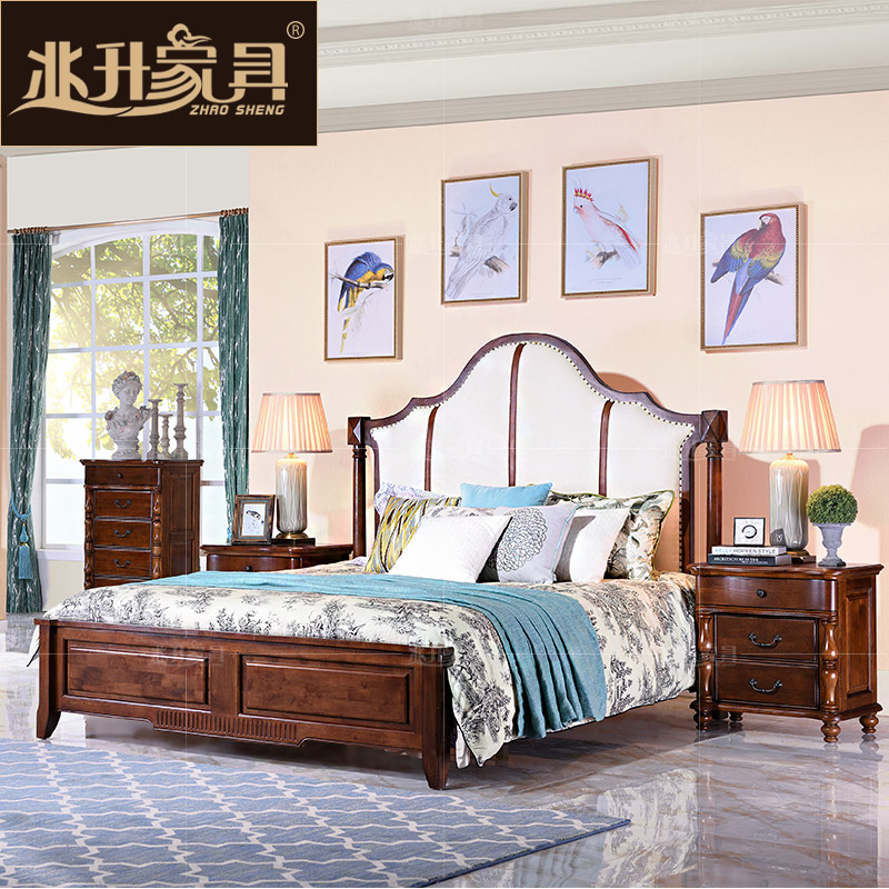 Megalitres furniture jianmei roolls all solid wood american bed continental leather double bed 1.8 m marriage bed of theb3