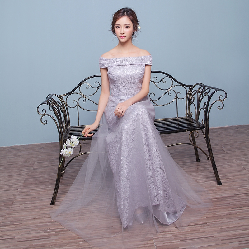 Mei jue 2016 new bridesmaid dress long section of silver silver simple word shoulder dress dinner toast dress
