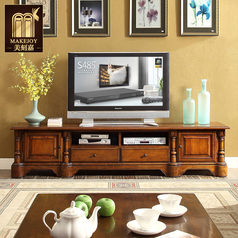 Mei mei moment kamei style tv cabinet tv cabinet 2.2 m american country retro living room furniture solid wood tv cabinet tv cabinet R5112