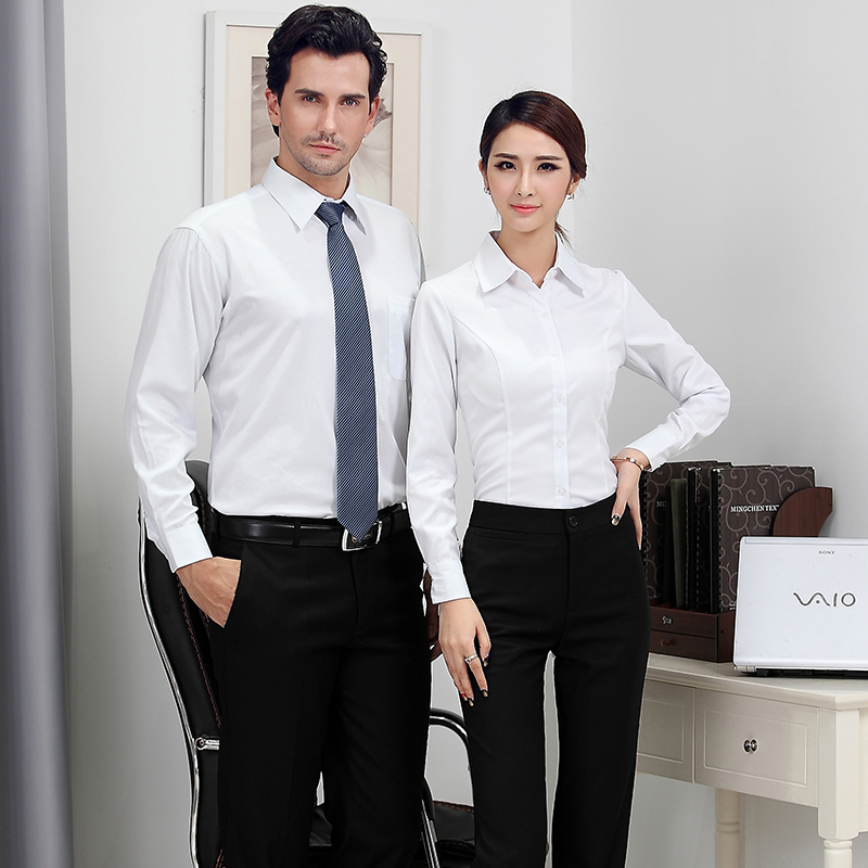 Men and women wear the same paragraph long sleeve shirt work uniforms interview suit business suits slim ol shirt pants