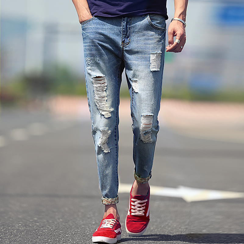 7b8ca05ec36 Get Quotations · Men holes in jeans male pantyhose summer thin section of  young korean slim small feet pants