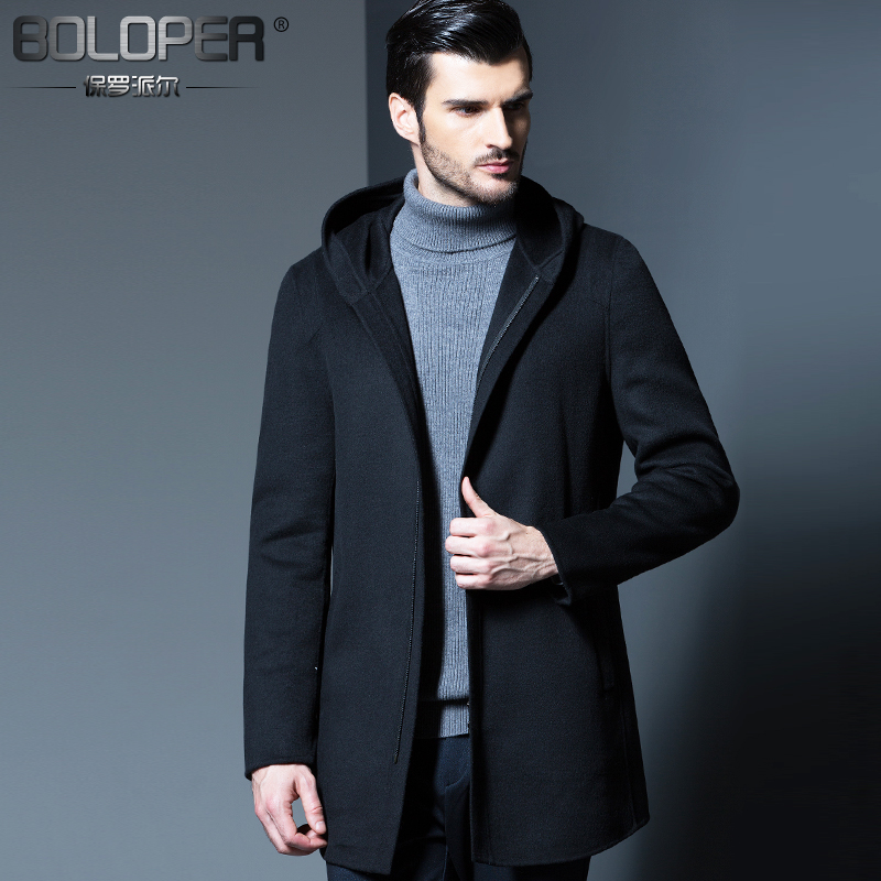 Men sided wool woolen coat long section of male coat male hooded winter coat middle-aged and young european and american fashion