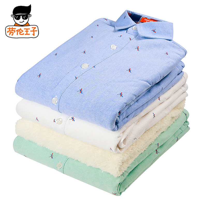 Men's big boy autumn children long sleeve cotton shirt 12 winter models plus thick velvet baby boys white shirt 15 years old
