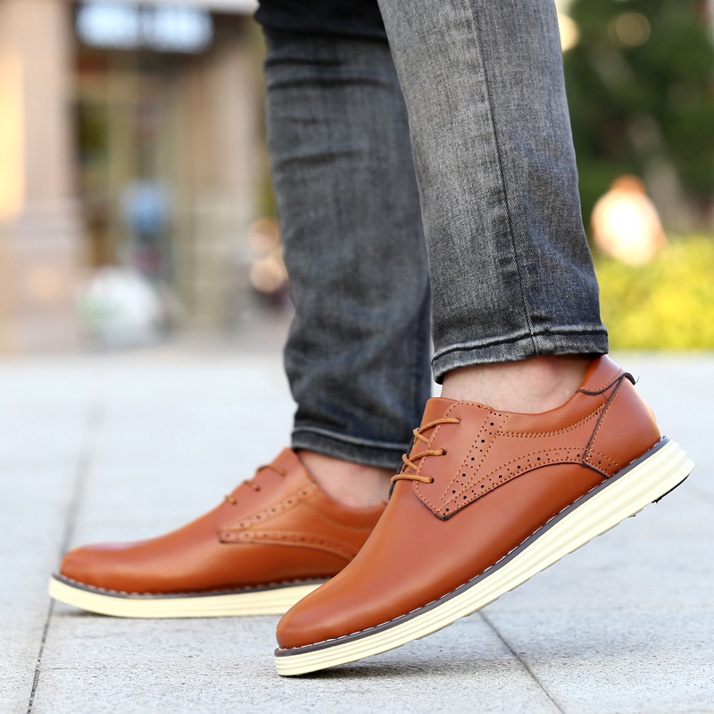 Men's business casual leather shoes british summer breathable first layer of leather lace shoes tide shoes summer
