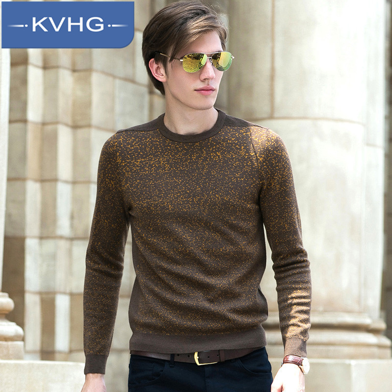 Men's fashion kvhg thicker type long sleeve sweater 2016 korean version of the new wild round neck sweater hedging 7733