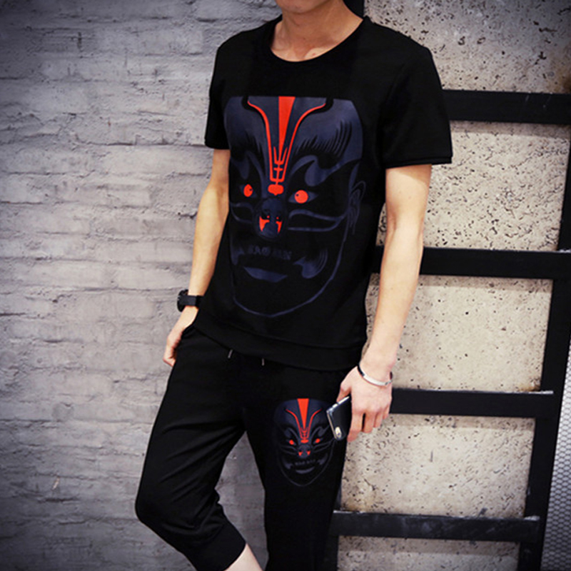Men's large size korean summer national wind peking opera printing short sleeve compassionate influx of students slim t-shirt dress suit
