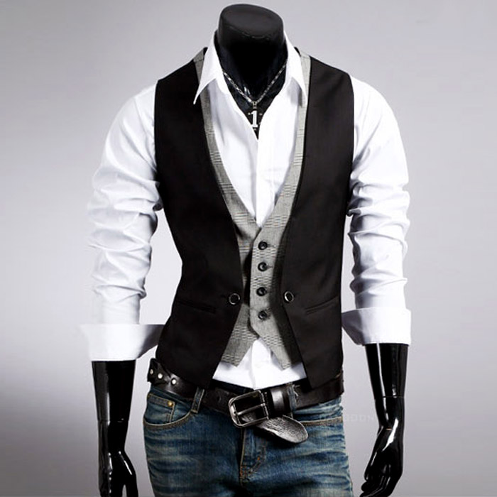 Men's plaid vest fake two men slim vest vest vest men's spring and autumn section of small vest black khaki