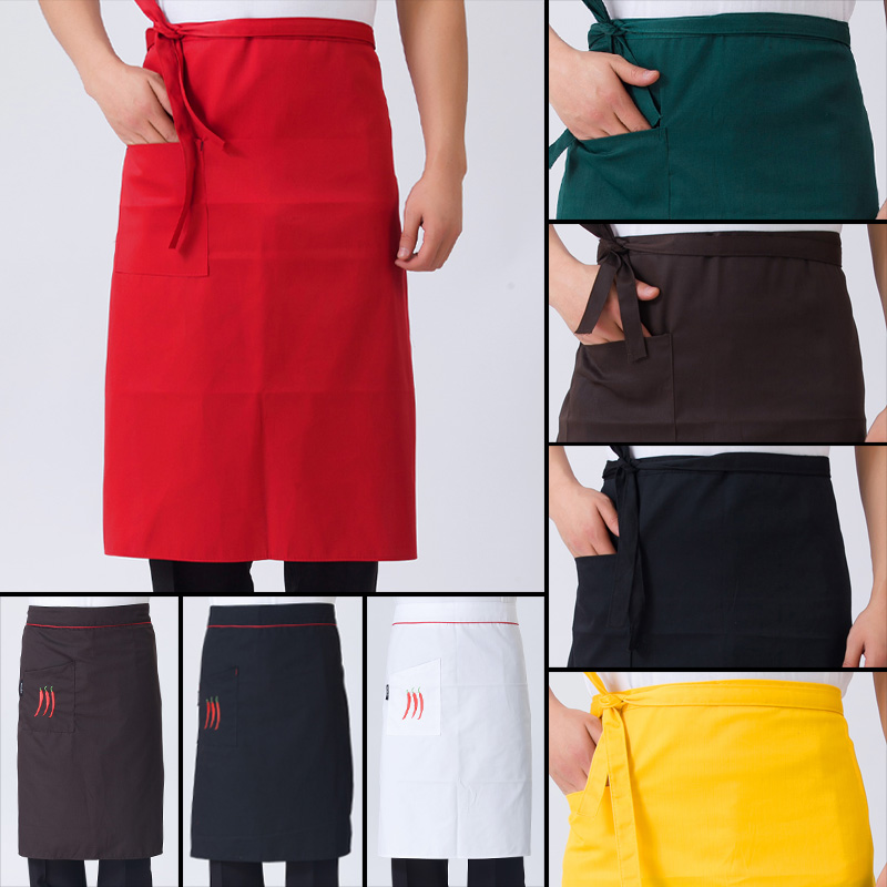 Men's restaurant chef aprons hotel restaurant work apron kitchen apron half short paragraph black apron bust