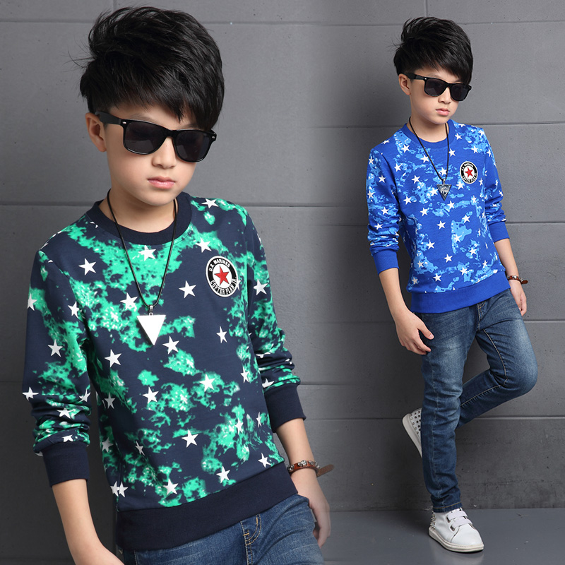 Men's spring and autumn 10 children wear big boy 13 12-15-year-old male child boy long sleeve t-shirt cotton t-shirt shirt
