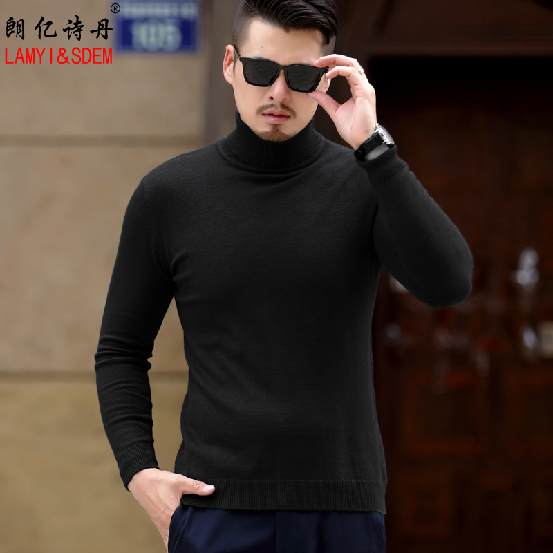 Get Quotations · Men's turtleneck sweater autumn and winter hedging sweater korean slim men's sweaters thin section solid black