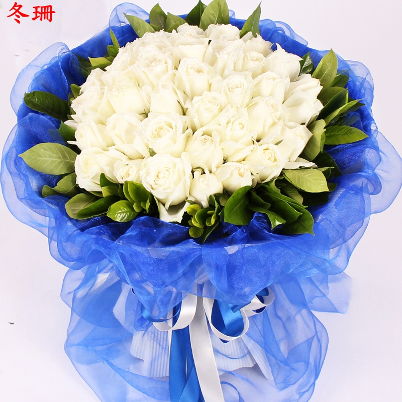 Men's white roses bouquet flower delivery flower shop huangchuan shangqiu nanyang red river love confession birthday flowers