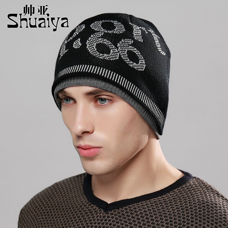 d48bc6fbd8e Get Quotations · Men s winter hat letters fall and winter knitting wool hat  male winter hat korean tidal warm