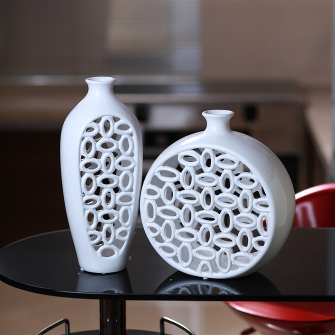 Merrill blessing hollow ceramic vase modern home decorations ornaments european minimalist white flower flower holder