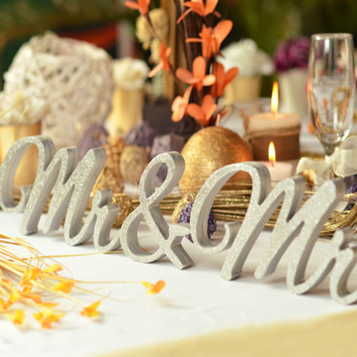 Met the love of mr. & mrs. wedding dessert station decorative white alphabet cards reception table decoration ornaments photographed props