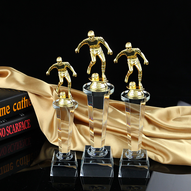 Metal trophy football trophy crystal football trophy sports trophy crystal trophy made spot