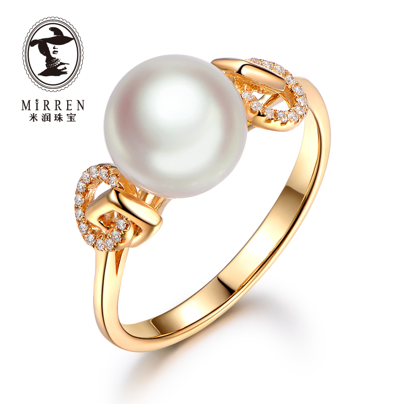 Meter run jewelry female models akoya japanese akoya pearl ring perfect circle k gold with diamond women