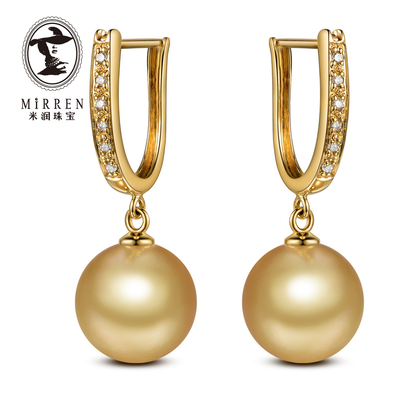 Meter run jewelry female models gold south sea pearl earrings ear rings for volatilisation is perfect circle 11mm k gold with diamonds