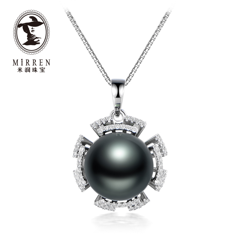 Meter run jewelry tahitian black pearl pendant female models 12-13mm k gold with diamond lotus