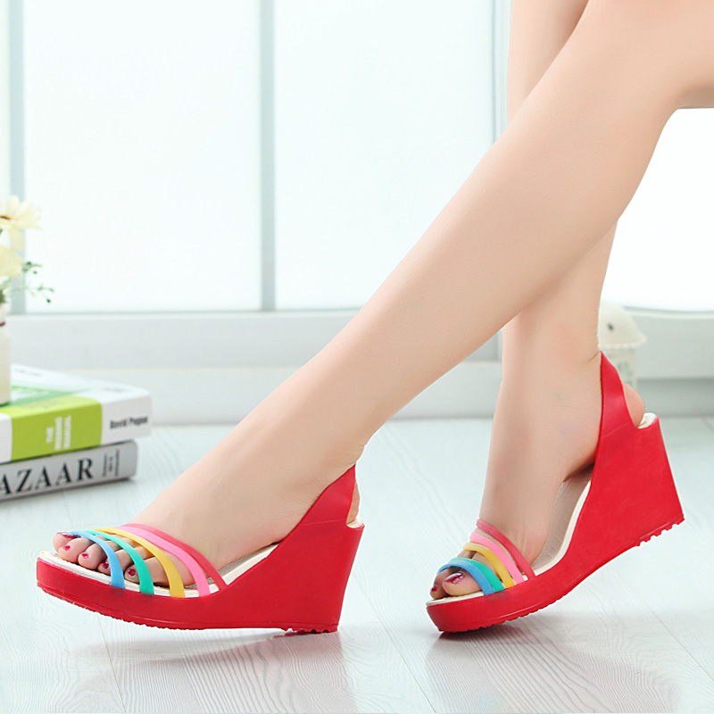 Mexican lanpu si summer new female models breathable rainbow colorful shoes ladies high heels high heels sandals free shipping