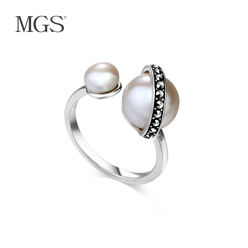 Mgs/mangu silver bangkok silver ring fashion women are brand decorative design retro korean version of the white pearl ring
