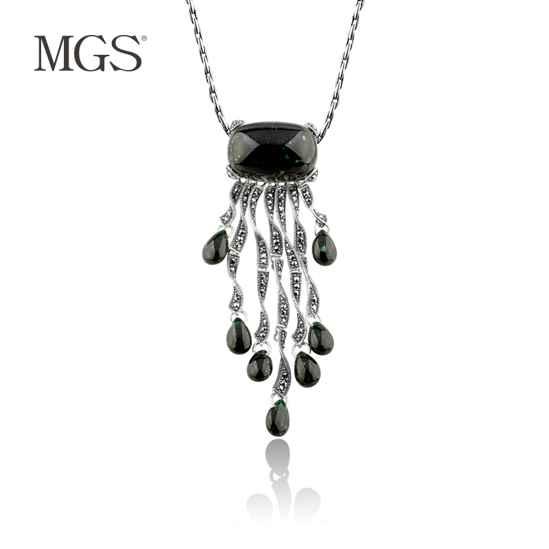 Mgs/mangu silver retro bangkok personality green positive brand korean fashion silver pendant sweater chain pendant female