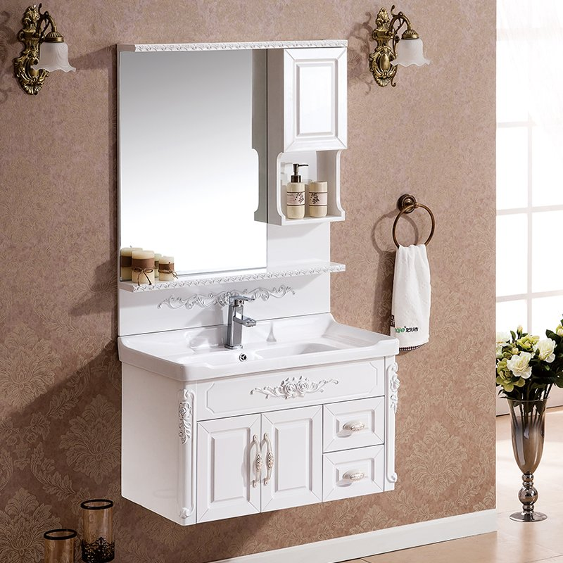 Miao jie new european pastoral bathroom washbasin cabinet combination of solid wood bathroom cabinet bathroom vanity wash their hands