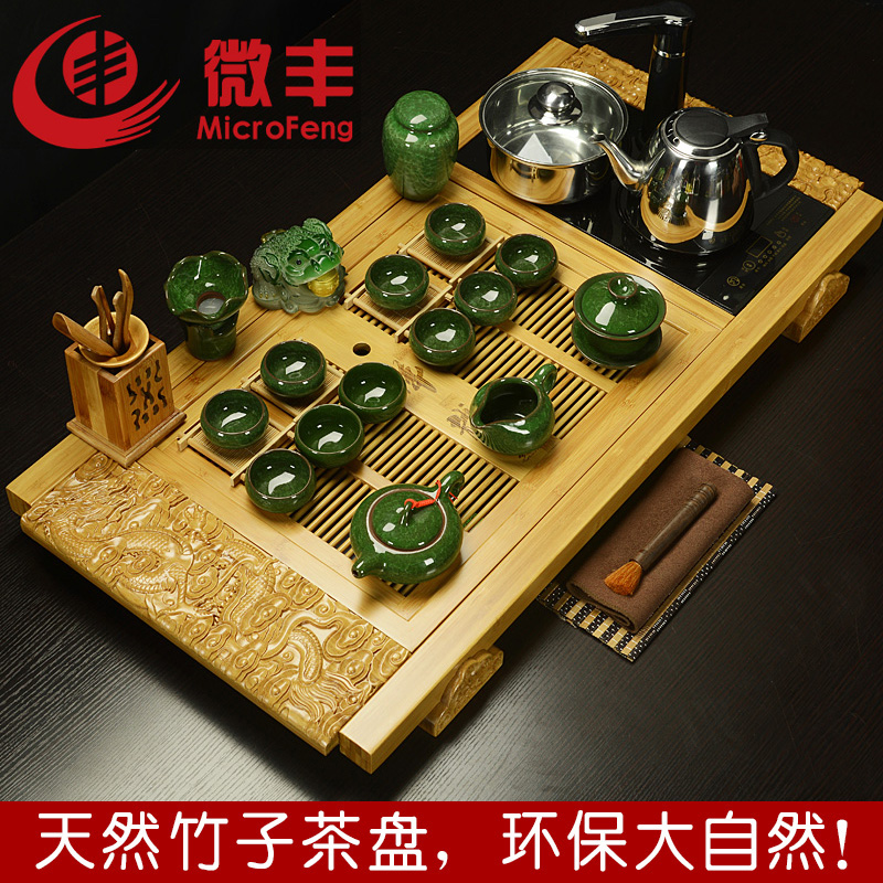 Micro feng binglie entire tea set bamboo tea tray with cooker tea sets tea sea special offer free shipping