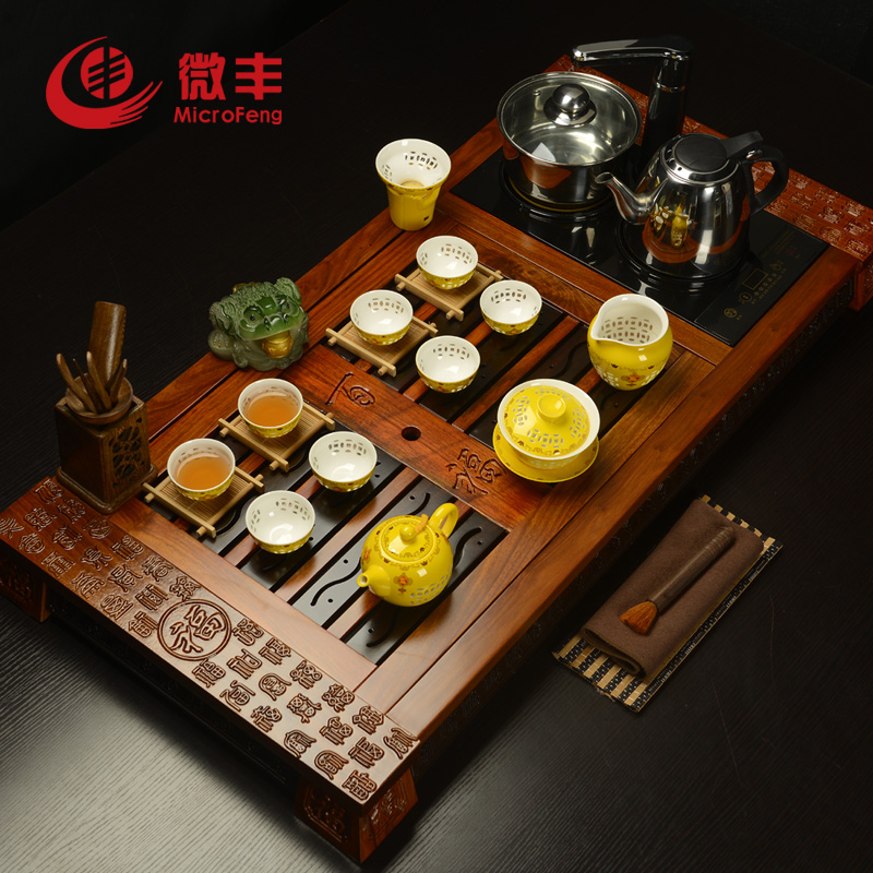 Micro feng ebony rosewood tea set package kung fu tea wood tea tray cooker special offer free shipping