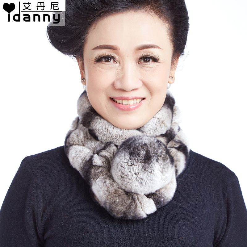 Middle-aged lady scarf autumn and winter female rabbit fur scarf rex rabbit fur scarf thick warm wool scarf ball