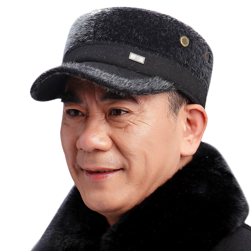 Middle-aged male hat cap thick warm winter imitation mink hat cap elderly old man dad dad hat flat cap hat male free shipping