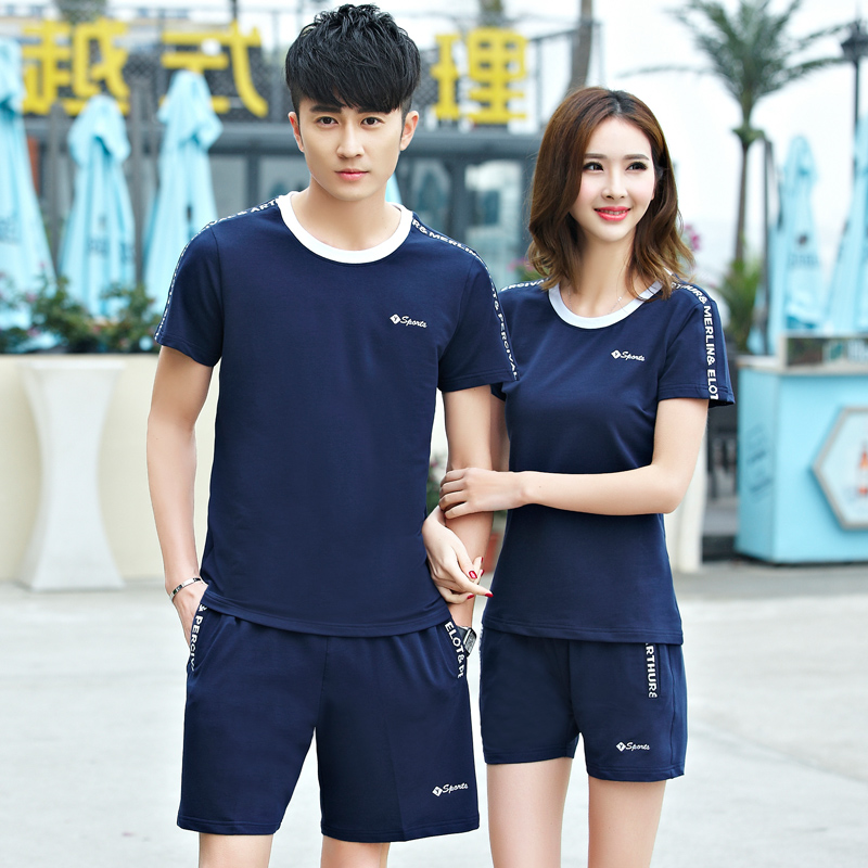 Middle-aged male sports suit summer ladies short sleeve shorts sportswear thin cotton leisure sports suit lovers sportswear female summer