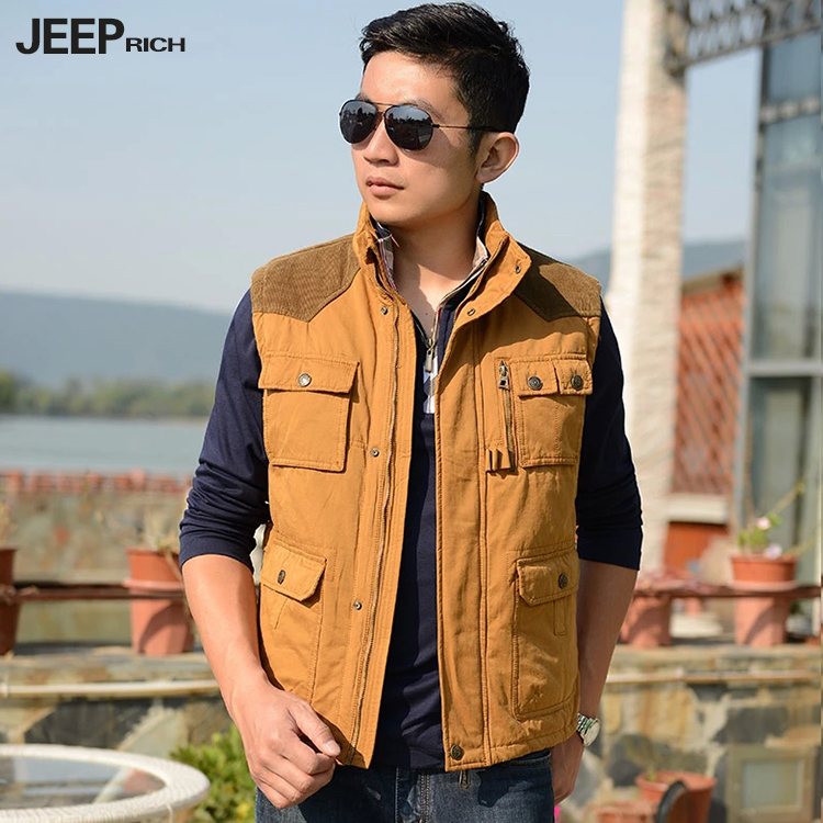 Middle-aged men casual cotton vest collar thick cotton vest waistcoat jeep jeeprich can winter vest pocket more power