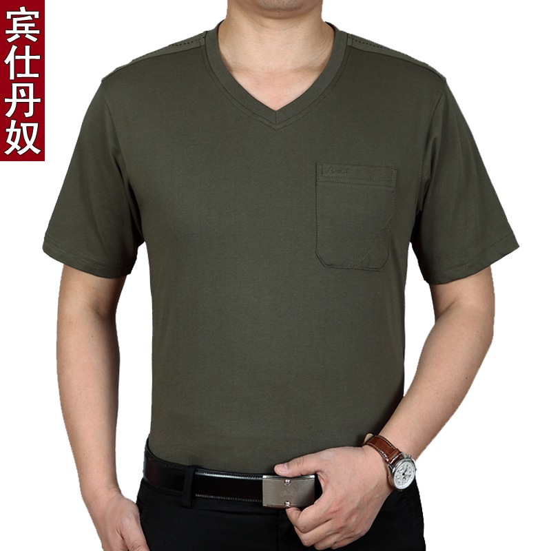 Middle-aged men short sleeve t-shirt cotton casual men middle-aged men middle-aged male father fitted v-neck t-shirt male summer thin sleeve