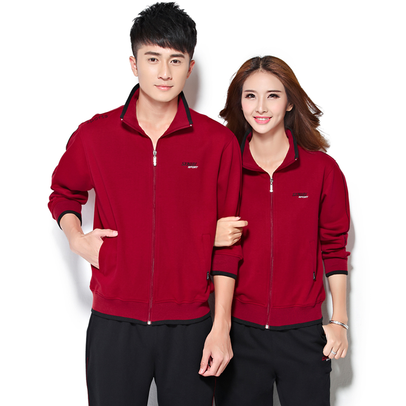 Middle-aged middle-aged sports suit female models couple sets spring and autumn sportswear suit large size men and women sportswear