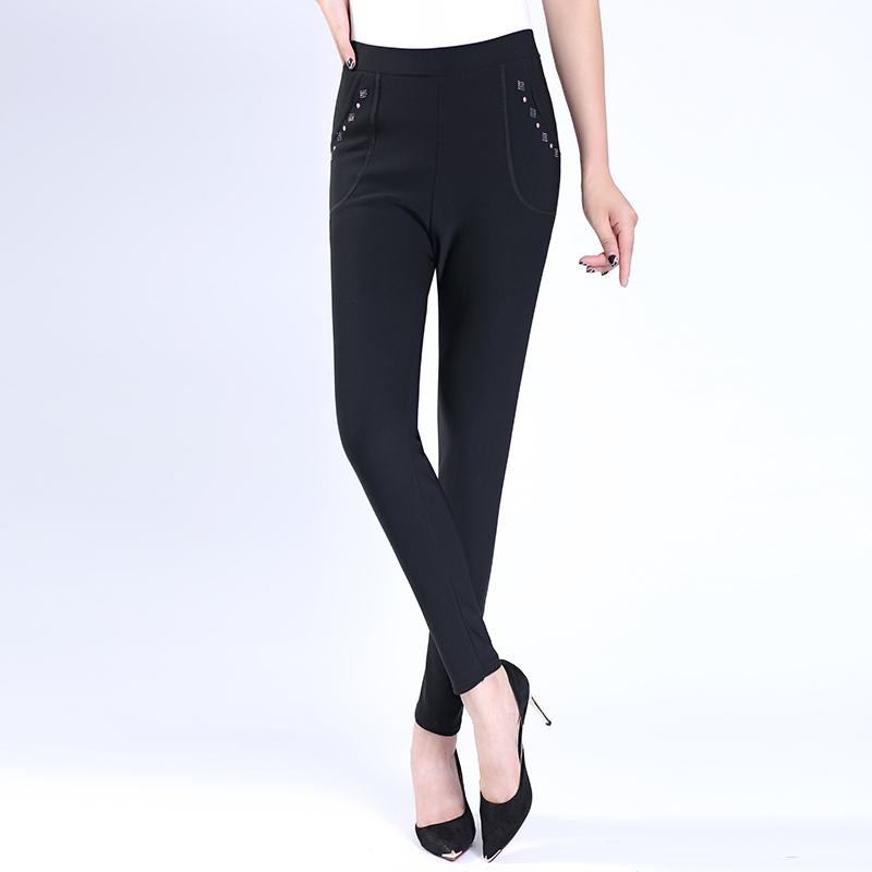 Middle-aged middle-aged women plus velvet pants feet pants middle-aged mother dress winter women slim casual pants big yards