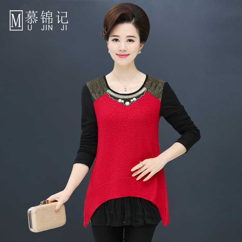 Middle-aged middle-aged women plus velvet warm coat hedging fashion style t-shirt bottoming shirt fashion mother dress fall and winter