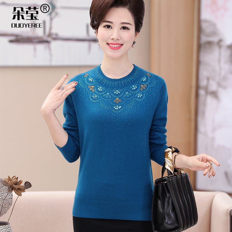 Middle-aged middle-aged women's sweaters middle-aged women mother dress sweater 40-50-year-old hit bottom shirt blouse elderly