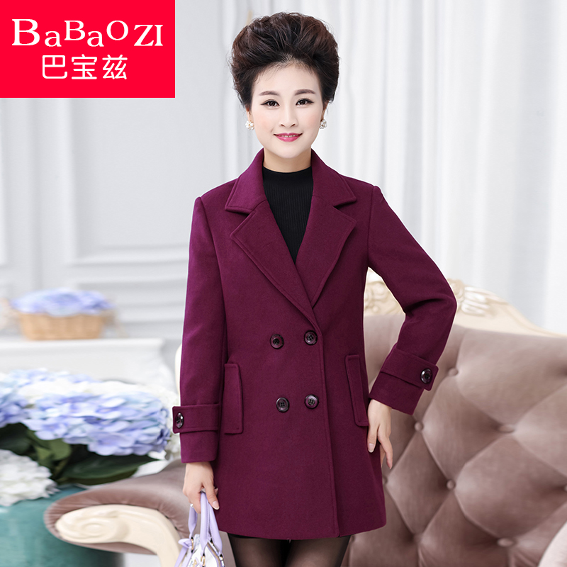 Middle-aged women autumn coat woolen coat middle-aged women mother dress 40-50-year-old out raw wool coat and long sections