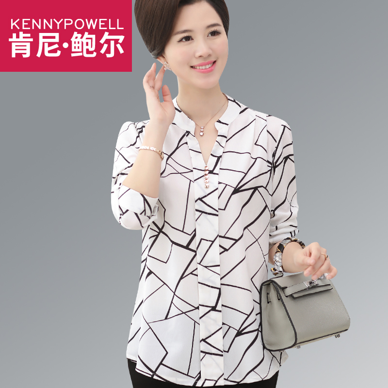 Middle-aged women autumn mother dress shirt autumn chiffon blouse 40-50-year-old year in large size women's t-shirts