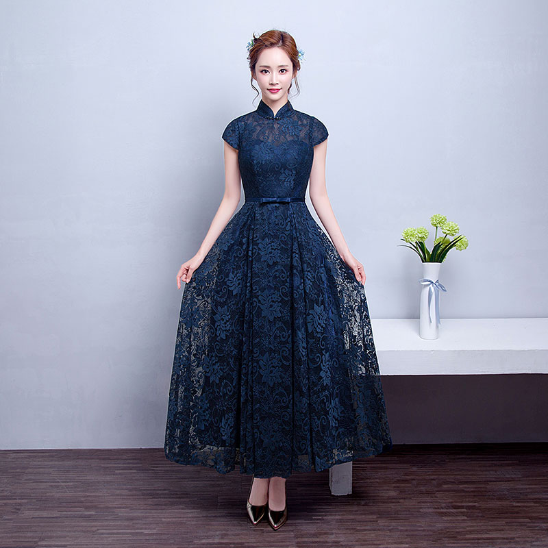 c330e9e3806 Get Quotations · Middle-aged women dress evening dress long section of dark  blue dress collar dress wedding