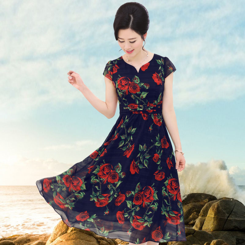 Get Quotations · Middle-aged women mother dress summer summer new year  between china and laos and long 882e5706b463