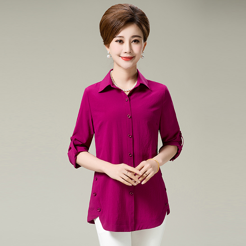 Middle-aged women's autumn new large size mother dress shirt t-shirts 40-50-60-year-old year in spring and autumn coat