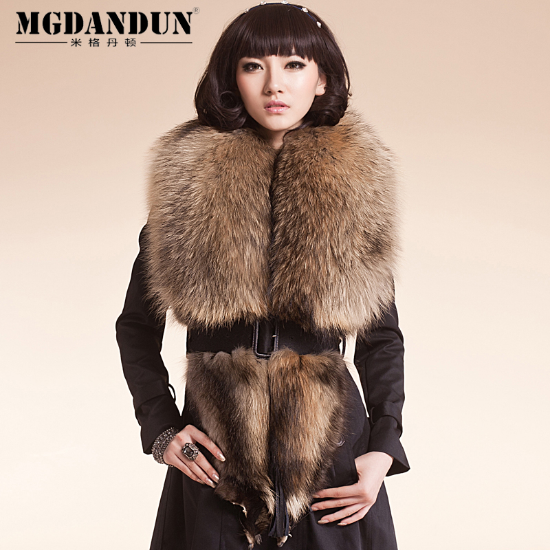 Mige dan benton new luxury raccoon fur collar oversized scarf shawl collar fur collar fur collar whole